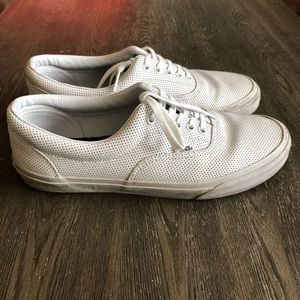 Vans Men Size 10 White Leather Canvas Sneakers